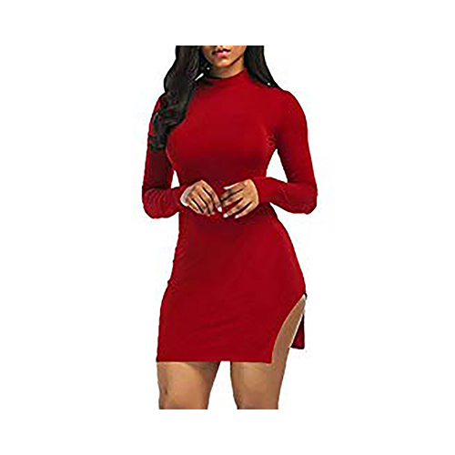 RED FIGURE HUGGING SEXY FEMALE DRESS
