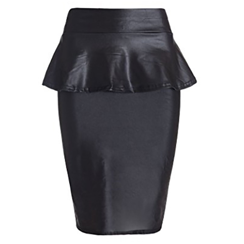 Sexy Leather Look Peplum Pencil Skirt