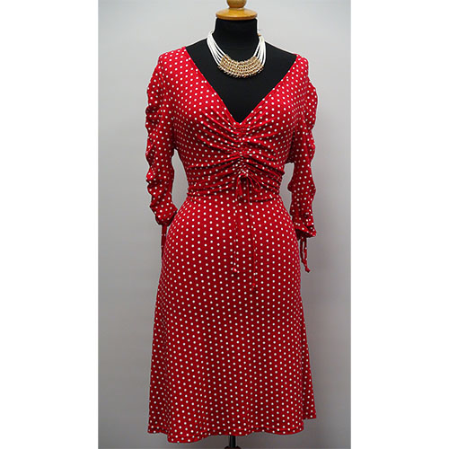Flirty Shorter Length Dress in Red Polka Dot