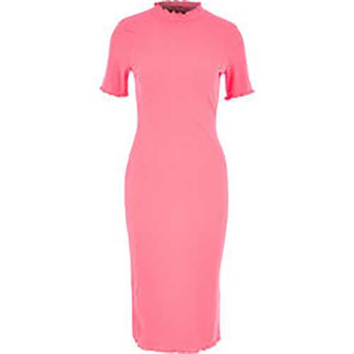 Neon Pink Bodycon Ribbed Dress