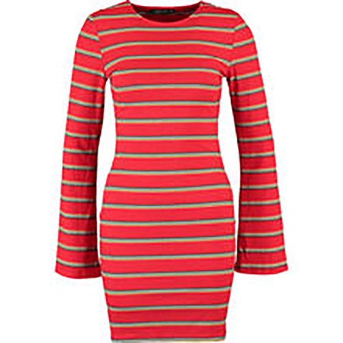 Red and White Striped Mini Jumper Dress