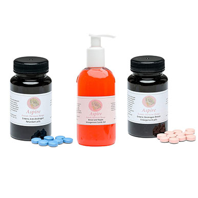 Aspire Breast and Nipple Gel, Enteric Oestrogen and Anti Androgen Pills Trio Pack