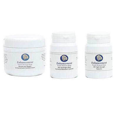 Enhancement Breast and Nipple Cream, HRT and Testosterone Reduction Capsules Trio