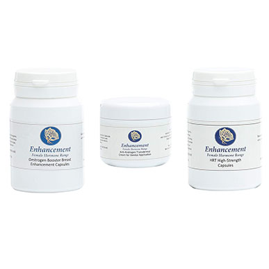 Enhancement Breast Enhancement Capsules, HRT Capsules and Testosterone Reduction Cream Trio