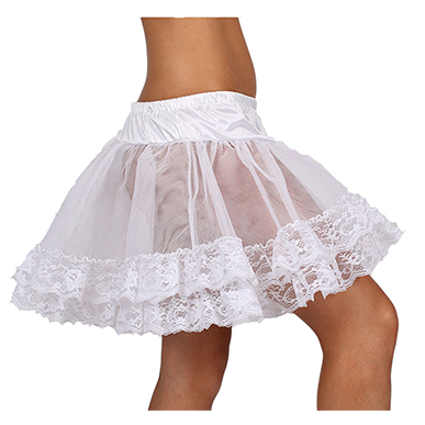 Multi-Layered Feminine Satin and Llace Petticoat