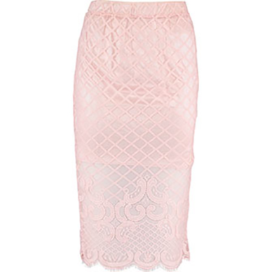 In Vogue Pink Lace Skirt Large