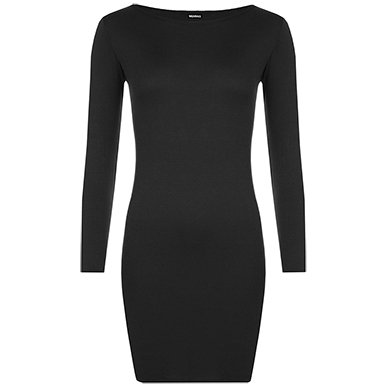 Black Midi Length Bodycon Dress