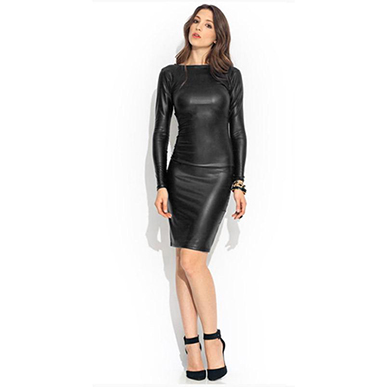 Leather Look Long Sleeved Midi Dress