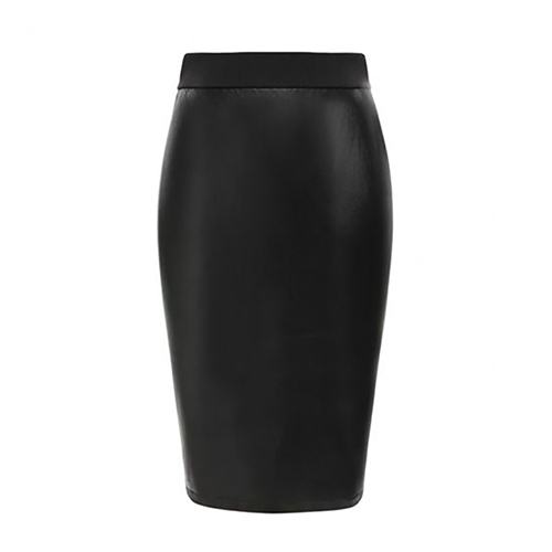 Sexy Leather Look Midi Pencil Skirt
