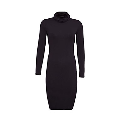 Black Stretchy Body Hugging Roll Neck Dress