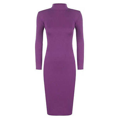 Purple Stretchy Body Hugging Roll Neck Dress