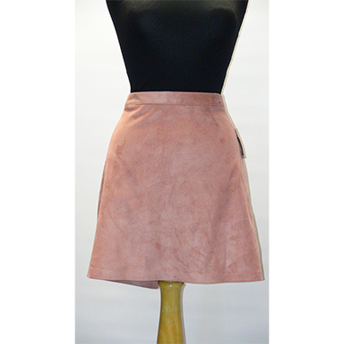 Large Pink Suedette Mini Skirt