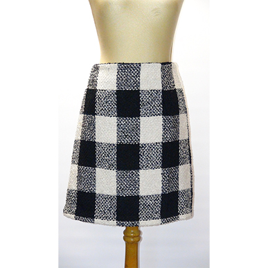 Black an White  Check Mini Skirt