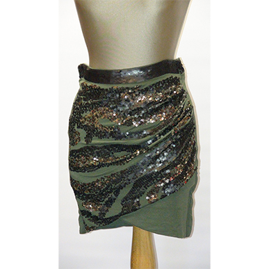 Green Sequin Mini Skirt