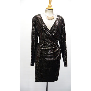 Plus Size Black and Gold Party Dress