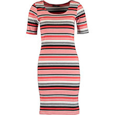 Red Striped Bodycon Midi Dress