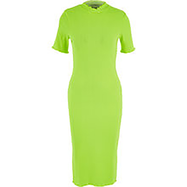 Neon Yellow Bodycon Ribbed Dress