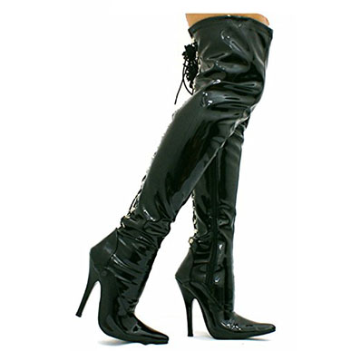 Kinky Fetish Back Lace Up Over The Knee Boot