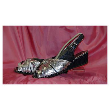 Silver and Navy Wedge Shoe