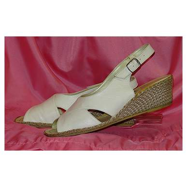 White Leather Wedge Shoe