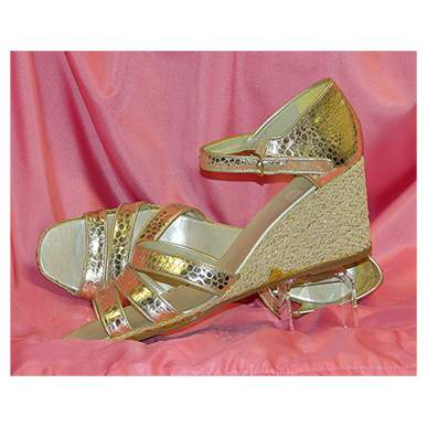 Gold Leather Wedges