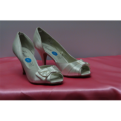 White Satin Peep Toe Court Shoe
