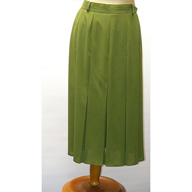 Olive Green Box Pleated Skirt