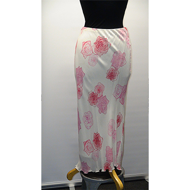 White And Pink Rose Skirt