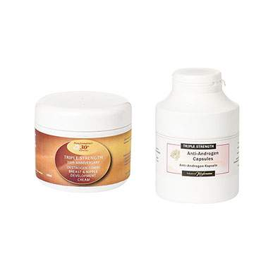 Triple Strength Breast and Nipple Cream And Triple Strength Anti Androgen Capsule Duo Pack