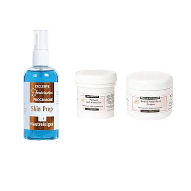 Triple Strength Beard Retardant, Bodyhair Retardant and Skin Prep Trio