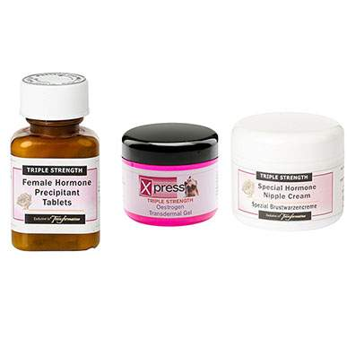 Triple Strength Nipple Cream, Oestrogen Gel and Precipitant Pills Trio Pack