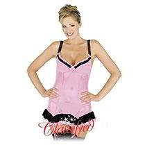 Camisole With Suspenders & Matching G-String - Pink
