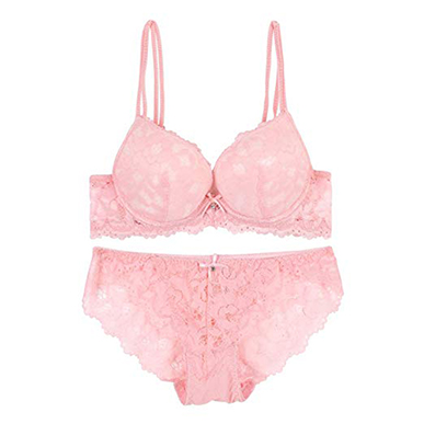Pink Lace and Embroidered Push Up Bra & Panty Set
