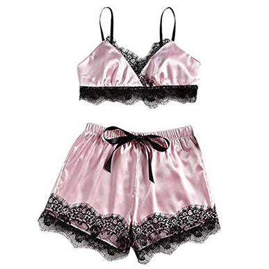 Pink Sexy Satin Bralette and French Knicker Set