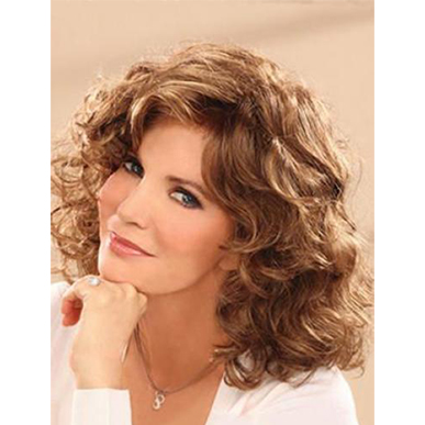Stephanie Shoulder Length Wavy Female  Wig Dark Brown