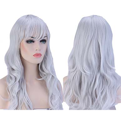 Glamorous Layered Party Wig Lavendar Grey
